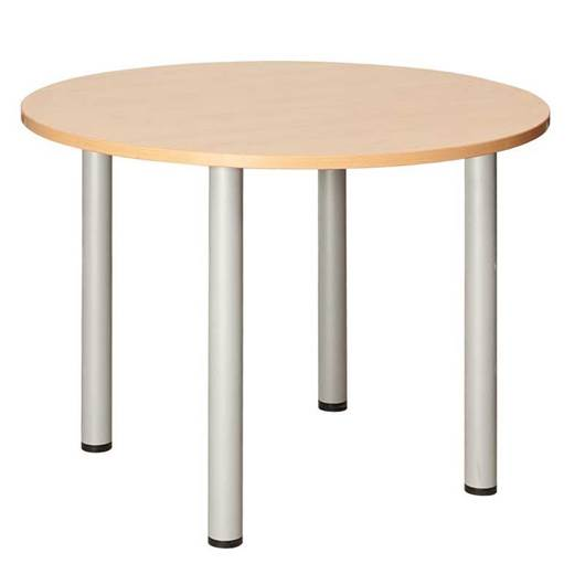 Picture of Fraction Circular Meeting Table with Silver Metal Legs